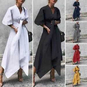 2019-New-Womens-Casual-Wrap-Plain-Asymmetrical-V-Neck-Long-Midi-Dress-Plus-Size