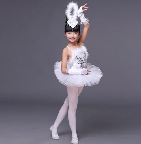 White Swan Lake Pancake Ballroom Ballet Tutu Dancewear Girls Dancing Costumes NW
