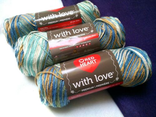 NEW Red Heart with Love Yarn 3-5oz Skeins Same Dye Lot BEACHY