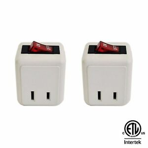 ( 2 Pack ) Wall Tap Outlet W/Turn ON/OFF Switch Power Adapter 2 prong Plug ETL