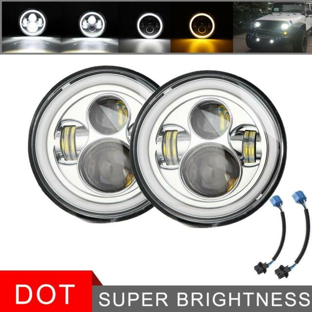 """Pair 7/"""" inch Round Black LED Headlights Hi-Lo 300W For Freightliner Century JEEP"""