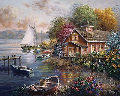 "Dufex Foil Picture Print - Peaceful Mooring - size 21"" x 17"" Large Print"