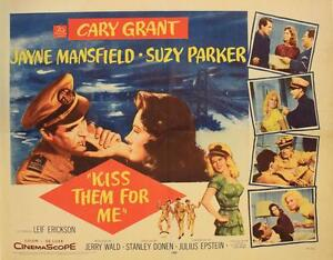 Kiss-Them-for-Me-1957-Original-Half-Sheet-22x28-034-Cary-Grant-Jane-Mansfield