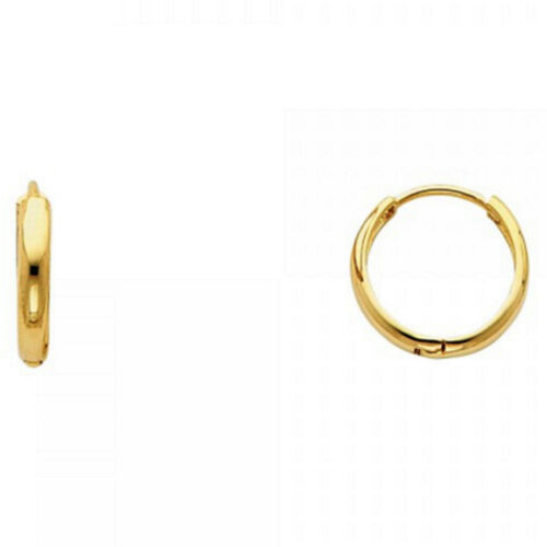 Unisex Plain High Gloss Circle Huggie Small Hoop 14k Gold Snap Clasp Earrings