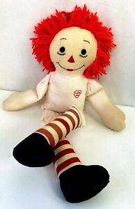 Vintage-1950s-Raggedy-Ann-Andy-25-034-Doll-I-Love-You-Heart-Collectible-Original