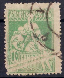 Rumaenien-1921-Sozialhilfe-VARIETY-ERROR-Print-Fold-gebraucht