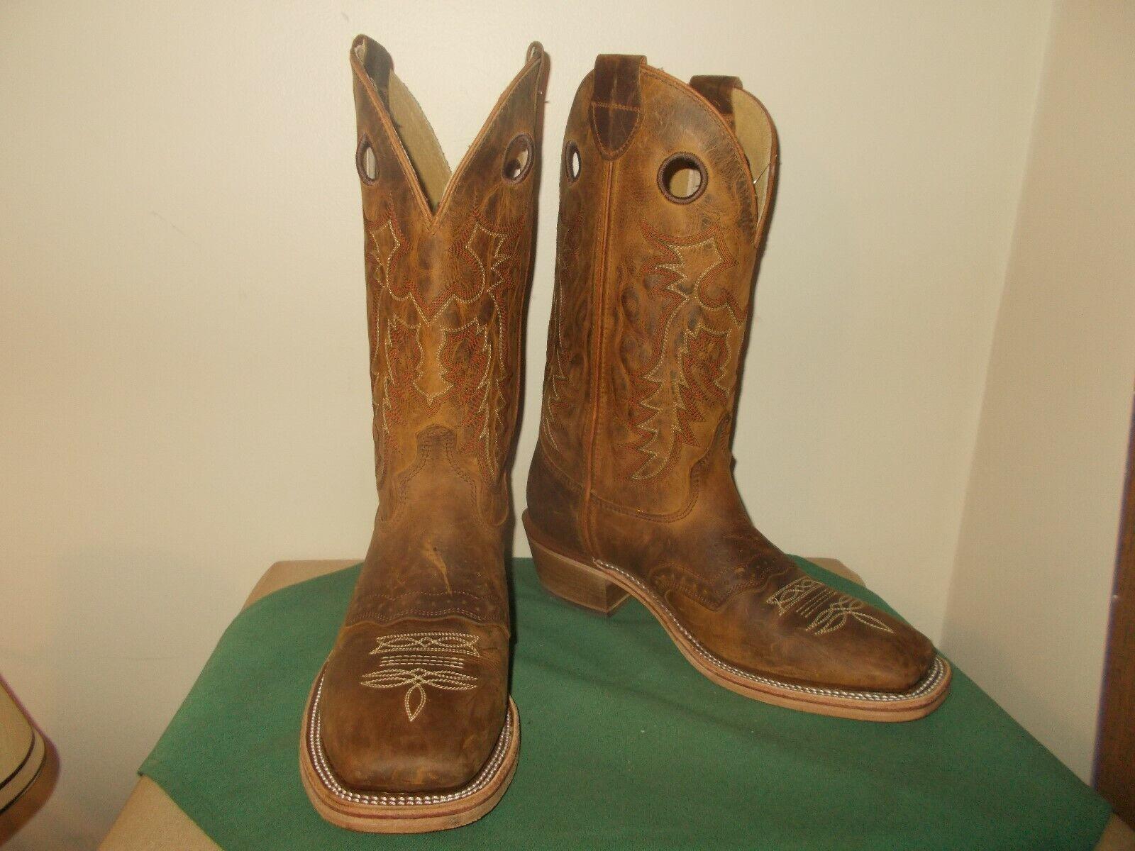 Dedo del pie cuadrado para hombre 11 1 2 D Buckaroo Roper Occidental botas De Vaquero Nuevo EE. UU.