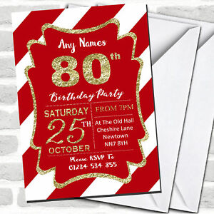 Details About Red White Diagonal Stripes Gold 80th Birthday Party Invitations