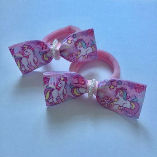 Pair Of Pink Unicorn Hair bow Bobbles// Girls Accecories//everyday Use