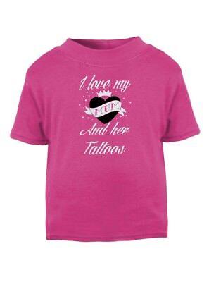Amo Mia Mamma E Il Suo Tatuaggi Bambini Rosa T Shirt Biker Punk Tatuaggio Alternativa- Costruzione Robusta