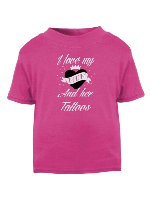 Amo A Mi Mamá Y Su Tatuajes Niños Rosa Camiseta Punk Biker Tatuaje Alternativa