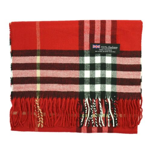 Mens Womens 100/% CASHMERE Scarf Wool Vintage Big Plaid Stripe Design Super Soft
