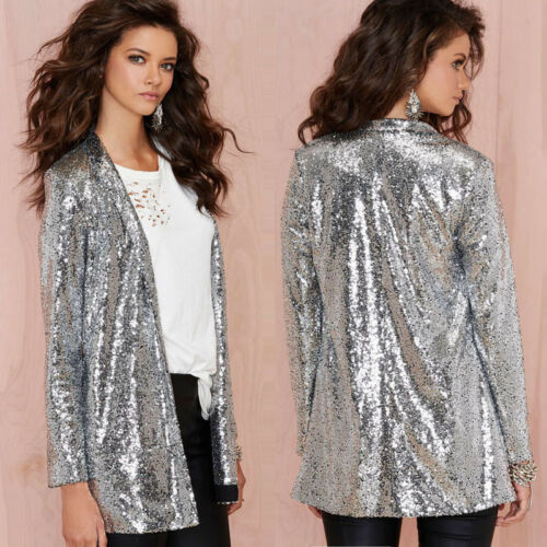 Femme Pailleté Cardigan Sequin Long Manteau Veste Brillant Party Irisé fZnqAR