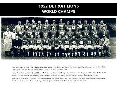1952 DETROIT LIONS 8X10 TEAM PHOTO FOOTBALL NFL PICTURE WORLD ...