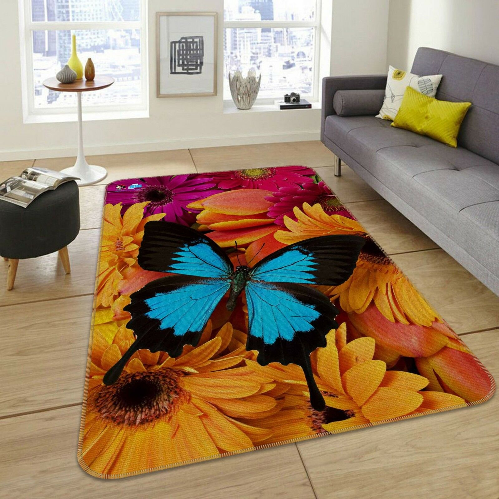 3D Flowers Butterfly 1 Non Slip Rug Mat Room Mat Quality Elegant Photo Carpet AU