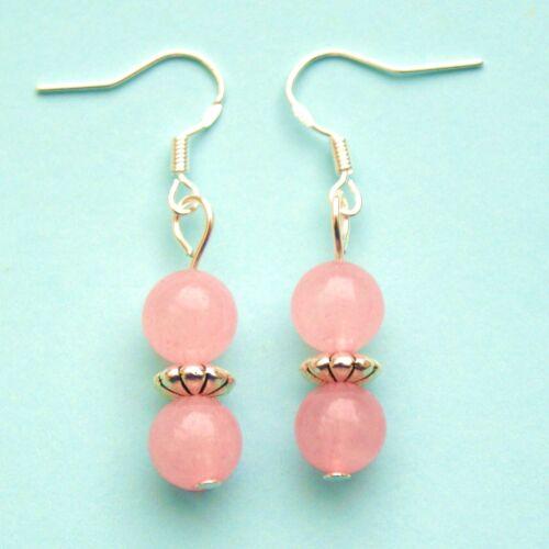Rose Quartz Earrings with 924 Sterling Silver Hooks LB224
