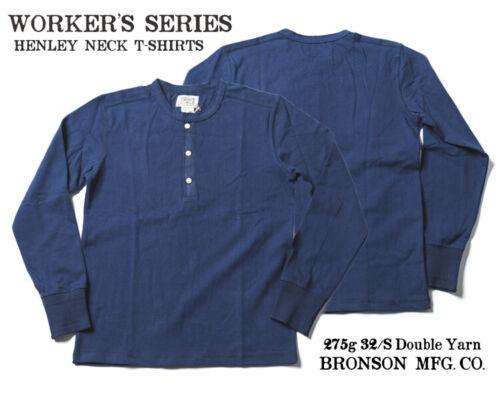 Bronson Vintage Men Henley Tee Shirt Heavyweight Ribbed Long Sleeve T-Shirts Top