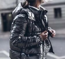 ZARA Silver Metallic Quilted Puffer Coat Jacket Down Anorak Small S