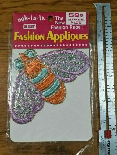 VINTAGE PURPLE ORANGE TURQUOISE BUMBLE BEE APPLIQUE CRAFT FREE SHIPPING