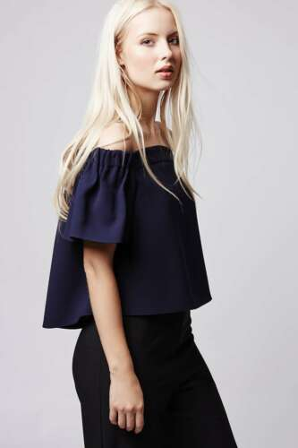 Premium Shoulder Bardot Blue Uk8 Structured Top Off Topshop Bnwt B1UWSS