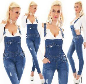 Mujer-Vaqueros-con-Tirantes-Pantalon-Peto-Mono-Pitillo-Skinny-Stretch