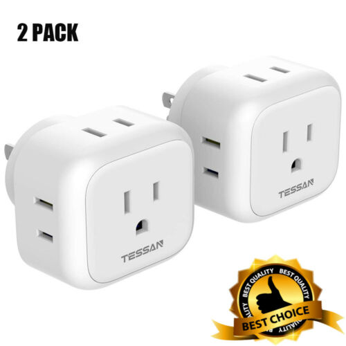 2-Pack White Mini Multi Wall Power Outlet Expander with 4 AC Outlets