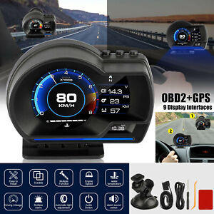 OBD2-GPS-Car-Head-Up-Display-HUD-Gauge-Turbo-Water-amp-Oil-Temp-Speedometer-Alarm