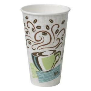 Dixie PerfecTouch Paper Hot Cups, 16 oz, Coffee Dreams Design, 50Pack