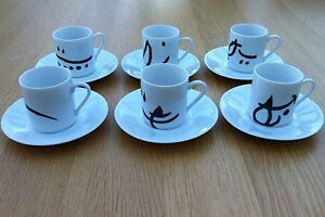 JOAN MIRO 6 White Espresso Cups amp Saucers Authorised Reproductions UNUSED - Bromley, Kent, United Kingdom - JOAN MIRO 6 White Espresso Cups amp Saucers Authorised Reproductions UNUSED - Bromley, Kent, United Kingdom