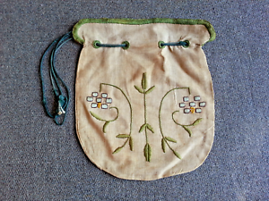 Antique Embroidered Linen Purse