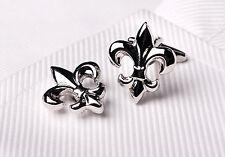 Silver Chrome Fleur-De-Lis Cuff Links Men's Cufflinks Mardi Gras Saints Jewelry