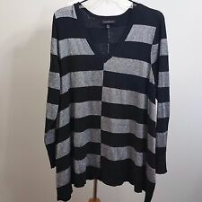 Lane Bryant Black and Silver Striped Tunic 3X (22/24) EUC High Low Front to Side