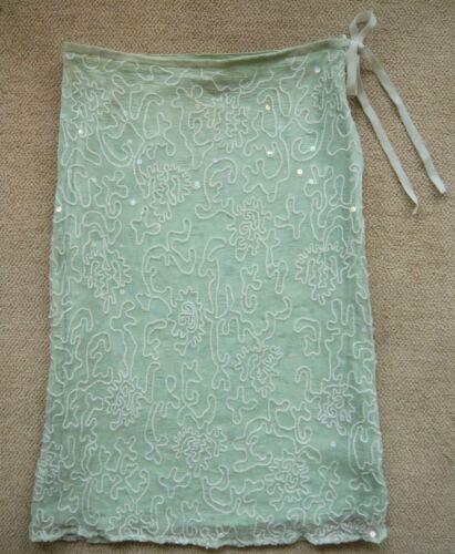 Petites Crayon Vert D'eau Brodé Pailleté En Les Jupe Neuve T38 Collection Coton 8ndxFqq