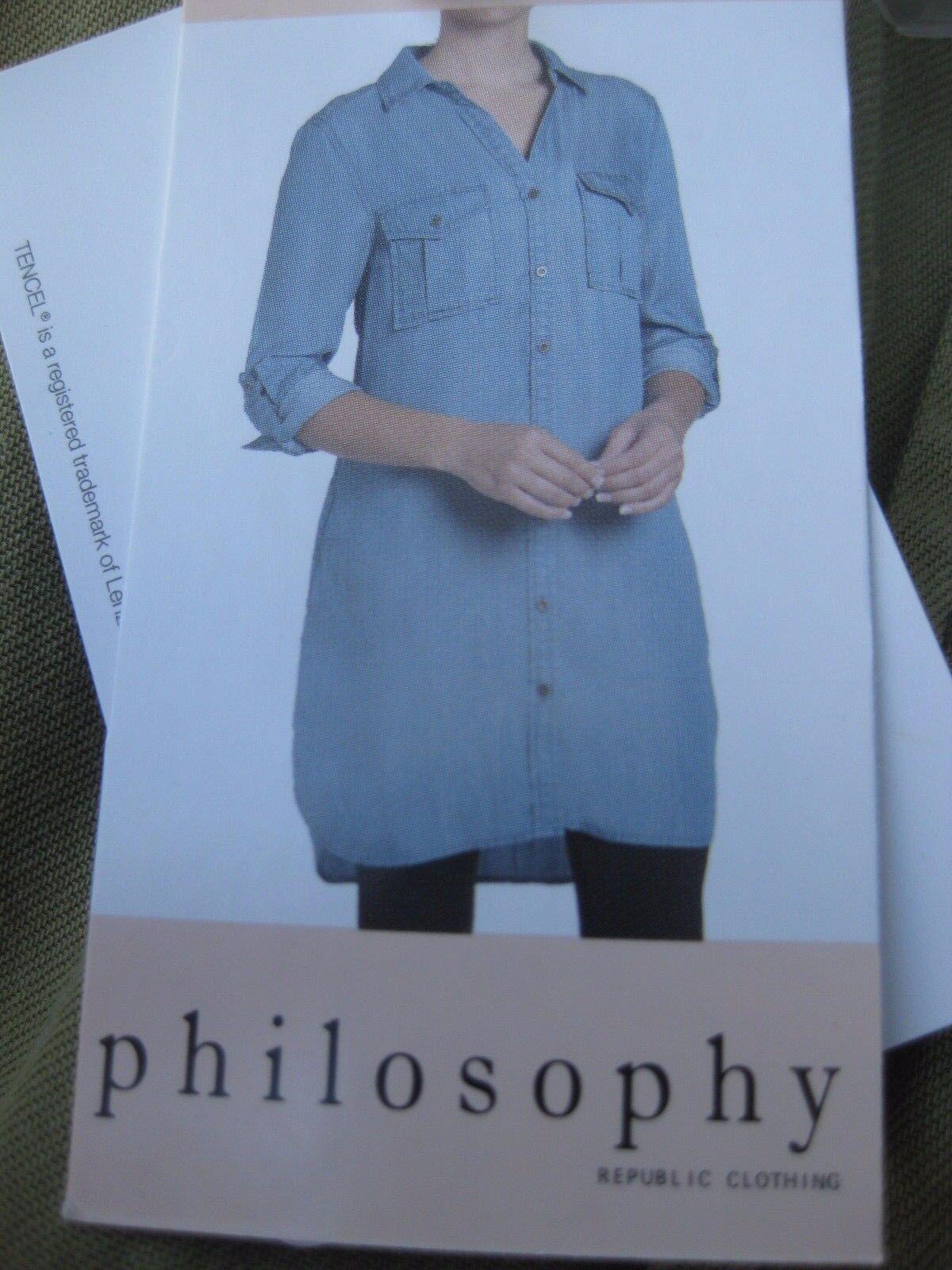 9f33d15b35 Philosophy Tencel Blue Chambray Denim Shirt Dress Tunic Top Button XXL 2x  for sale online