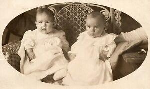 Vintage 1909 RPPC Postcard Portrait of Two Kids in Wicker Chair Kewanee Illinois