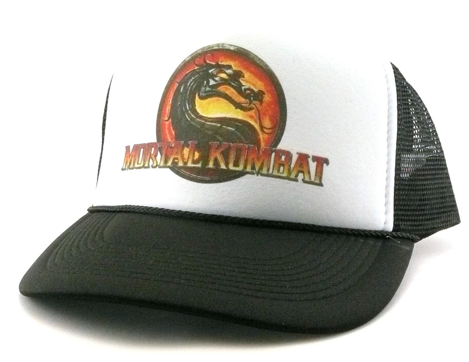 0541cb1259ad3 Vintage Mortal Kombat Trucker Hat mesh hat black new video game hat 1990 s