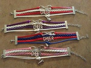 Image Is Loading Red And Blue Cheer Bracelet Infinity Love Friendship