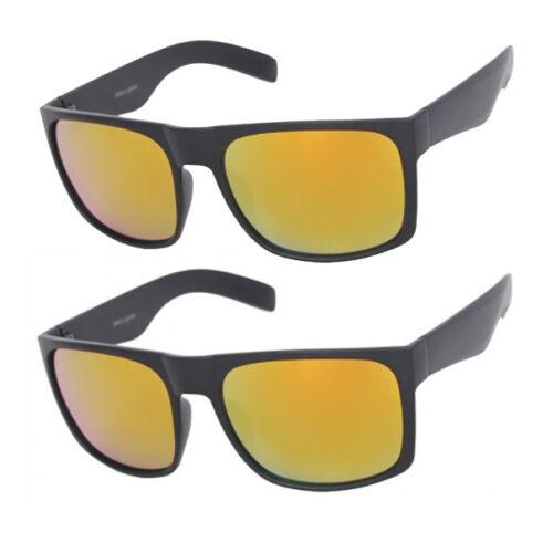 Large Wide Men Matte Square Retro Sunglasses Black Frame Color Mirror Dark Lens