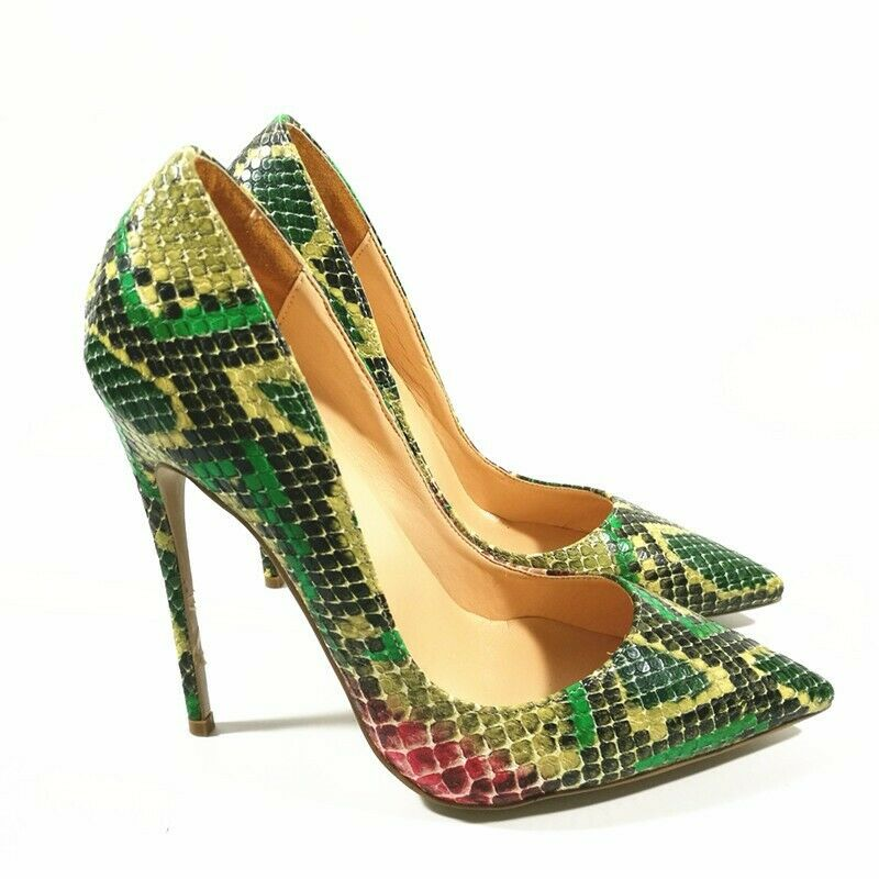 Women's Slip On Stilettos heel Snake Skin Pointy toe toe toe Sexy Party Ladies shoes New 410a78