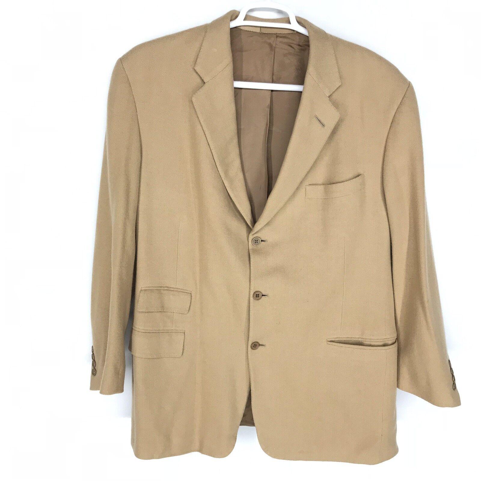 Ralph Lauren lila Label 100% Cashmere Tan 2 Vent Blazer 46 Long MINT