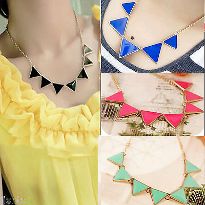 New Fashion Women Triangle Pendant Choker Chain Choker Chunky Statement Necklace