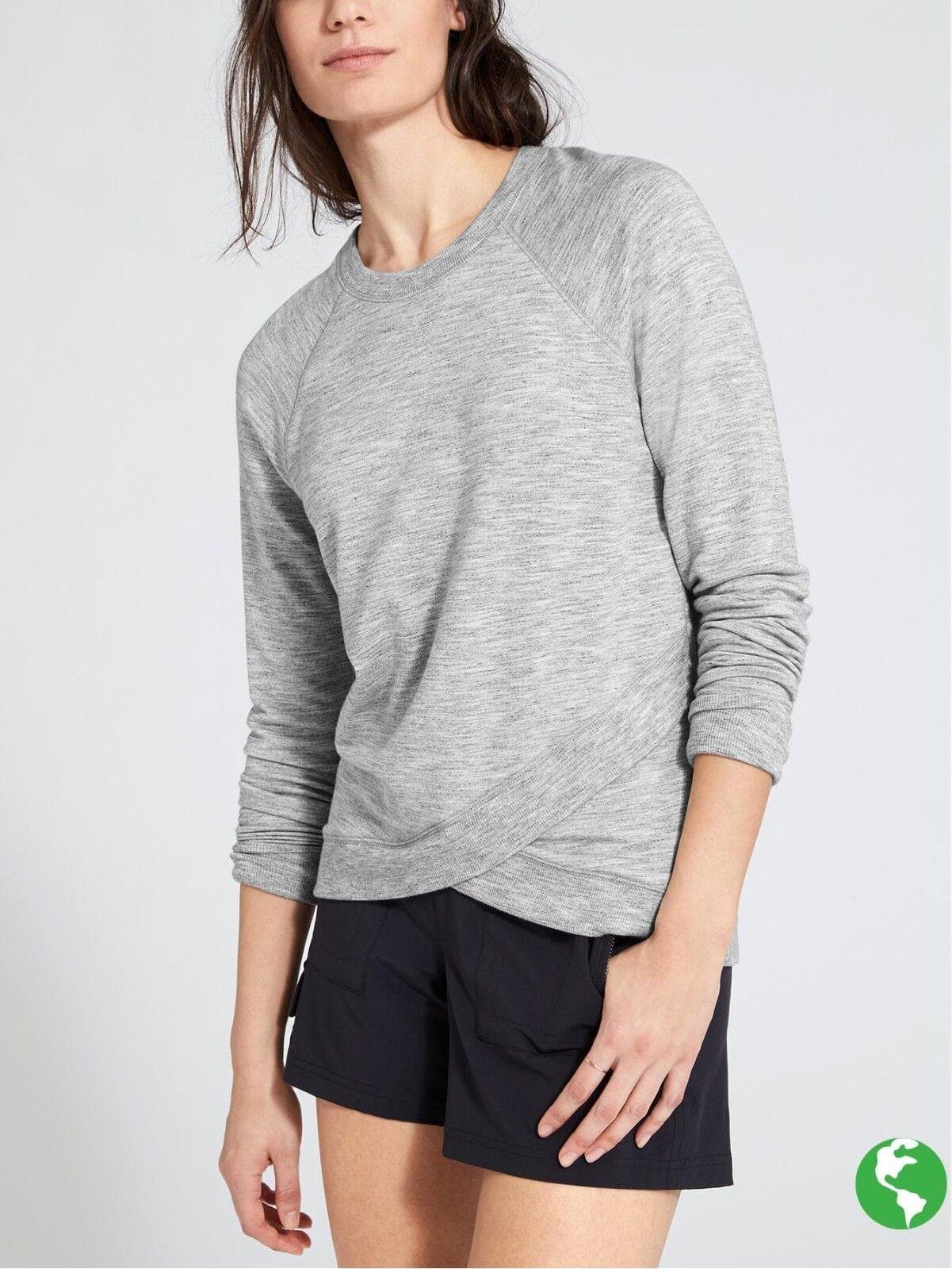 Athleta Criss Cross Sweatshirt, Marl Grey Heather  Size XL      N0413