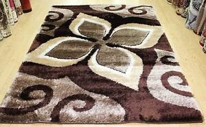 New-Modern-Large-Area-Rug-Brown-Colour-Shaggy-Rugs-Floor-Carpet-Living-Room-Rug