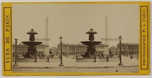 Place-Da-La-Concorde-Parigi-Francia-Foto-Stereo-L6n57-Vintage-Albumina-c1870