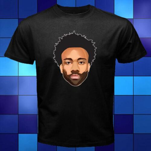 New Childish Gambino Cartoon Face Logo Black T-Shirt Size S to 3XL