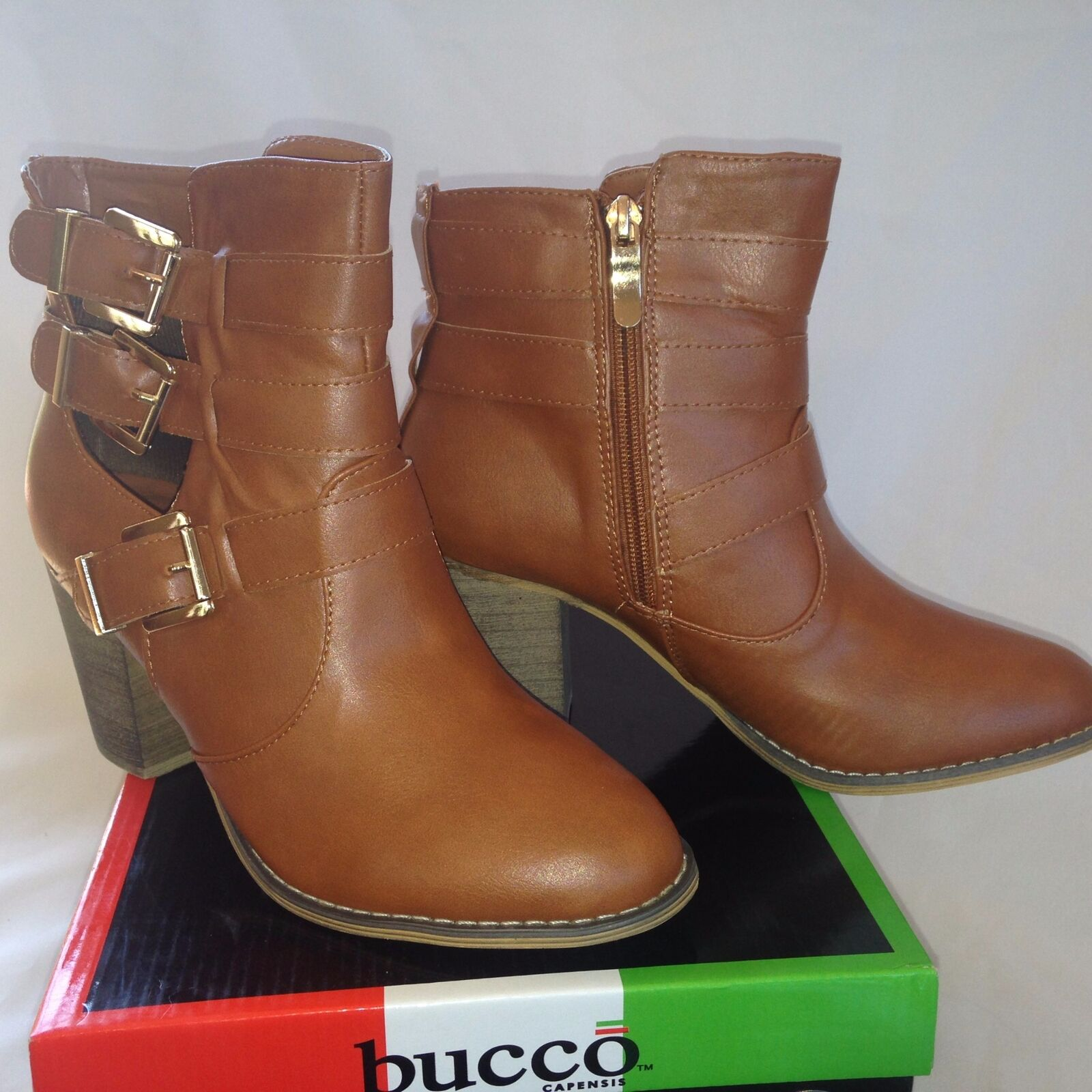 Bucco Togg Cognac Ankle Boot Size 7.5
