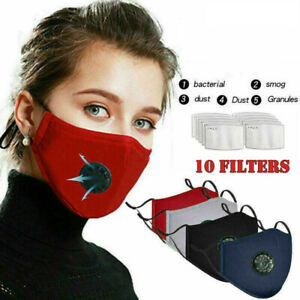 Reusable Cloth Cotton Face Mask Guard With Air Breathing Valve & PM2.5 Filters