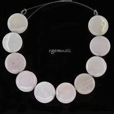 10 Pink Peruvian Opal Flat Round Coin Beads ap. 18mm #76178