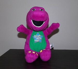 "12"" Barney Laugh With Me Sound Sing Music Dinosaur 2008 Toy Plush Stuffed Animal"