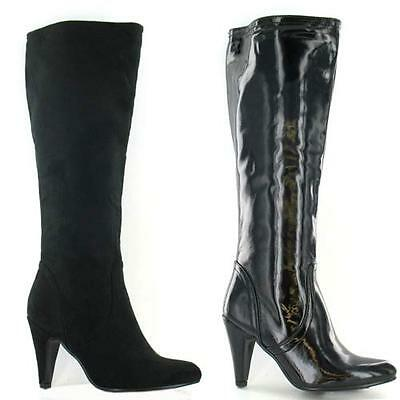 LADIES HIGH HEELS BOOTS WOMENS RIDING MID CALF WINTER SMART STILETTO SHOES SIZE